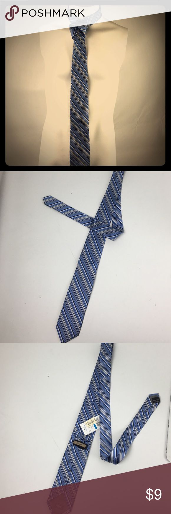 """NWT Boys, Roffe' multicolor pinstriped silk tie✨ NWT Boys 50"""" 100% silk tie. Blues, gray, and white pinstriped. I don't know how to tie a tie, so please excuse my attempt at it in my photo Roffe' Accessories"""