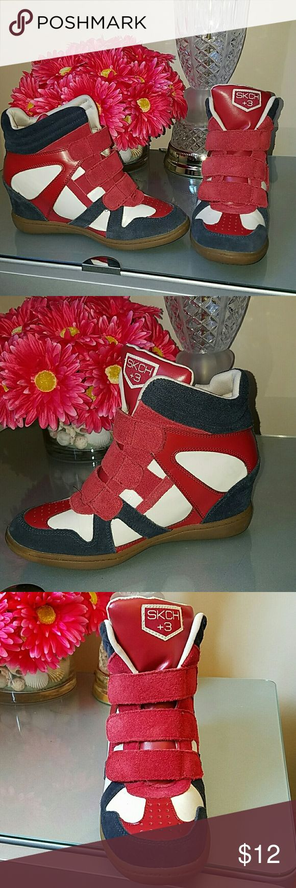 Skechers Wedge Sneakers Size 7.5 These are in great condition, worn a few times and are very well taken care of. The wedge heel is about 2.5/3 inch and is very comfortable to walk in! Velcro straps make it very easy to go in and out of! Skechers Shoes Sneakers