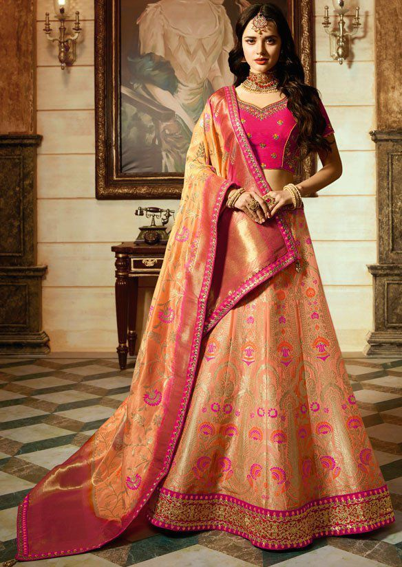 c7dbec04d3 Peach Pink silk Indian wedding Lehenga choli 13193 | Bridal-Lehengas-Online- Shopping | Indian wedding lehenga, Lehenga choli, Lehenga
