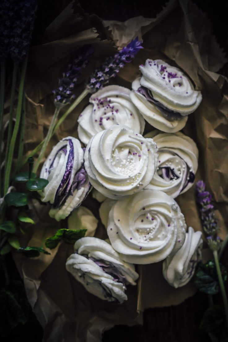 Meringue rose cookies,gluten free and filled with a delicious lavender infused cream cheese frosting