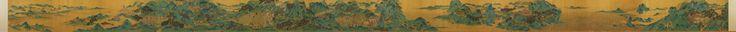 Qiu Ying (仇英) , 传明 仇英 上林图 卷 台北故宫博物院藏(点击原图放大) 本幅图写司马相如为汉武帝所作《上林赋》内容,赋文以华美词句描写富丽的皇家园囿「上林苑」与天子射猎的壮阔场面,呈现汉帝国无可比拟的气魄和声威。画者用笔工细,设色浓豔亮丽,以精谨造型描绘奇花异卉、巍耸宫殿与迤委人马,展现天威浩大。此重青绿工笔山水画应是后人伪託之作。