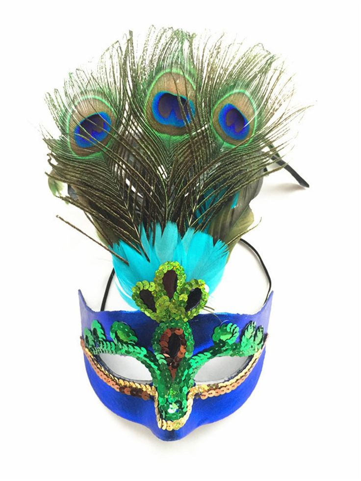 Взрослый Венеции Маска Маскарад Партии Хэллоуин Украшения Модные Карнавальные Перо Павлина