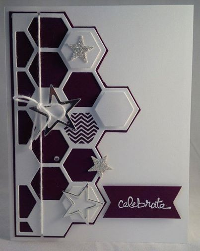 Hexagon hive Framelits plus Hello and Good Greetings stamp sets in blackberry bliss