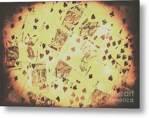 Poker Metal Print featuring the photograph Vintage Poker Card Background by Jorgo Photography - Wall Art Gallery