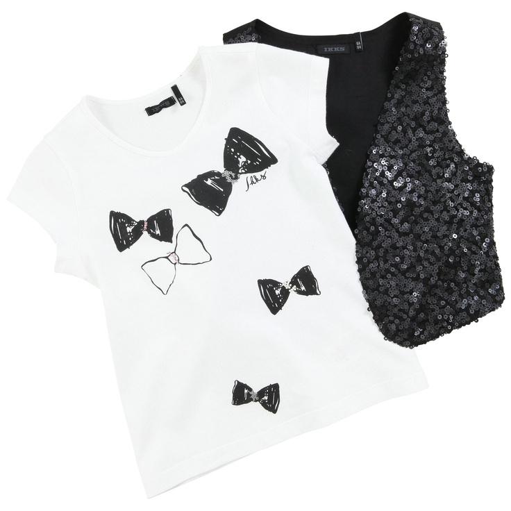 Ikks White T-shirt and glittery black vest Noir | Melijoe.com