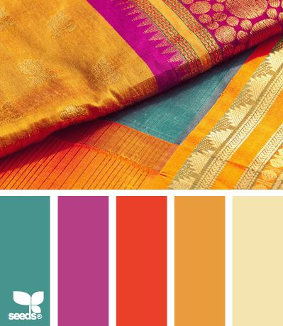 Silk brights ~ If you don't want to paint a whole room with saturated color, this is a nice palette for accessories.    #bohemian #interior #color
