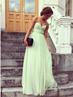 Strapless V-neck A-line with Sash and Ruched Bodice Long Chiffon Dress
