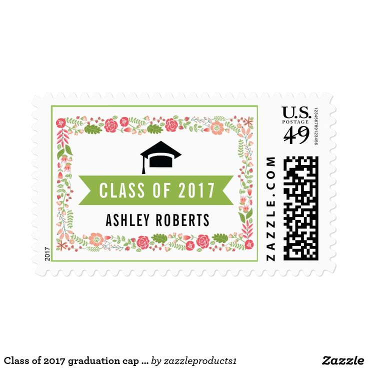 Class of 2017 graduation cap floral border postage