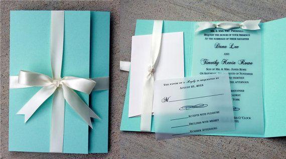 Robins Egg Blue Wedding Invitation, Blue with White Ribbon, Turquoise wedding, Blue & White Invite, Vellum Wedding Invitation, turqouise