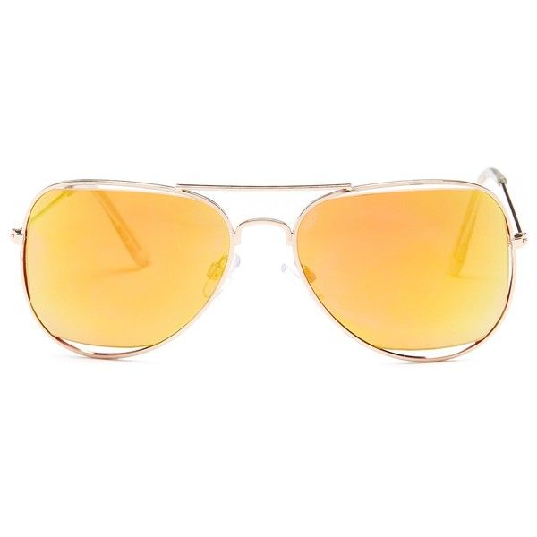Steve Madden Women's Aviator Sunglasses (5135 SYP) ❤ liked on Polyvore featuring accessories, eyewear, sunglasses, pinkgold, aviator glasses, lens glasses, uv protection sunglasses, steve madden and aviator sunglasses