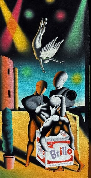 Artwork by Mark Kostabi, Cleanse my Sins, Made of Oil on canvas