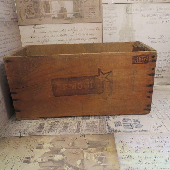 Vintage Wood Crate  Wood Box Corned Beef Crate by oZdOinGItagaiN, $30.00