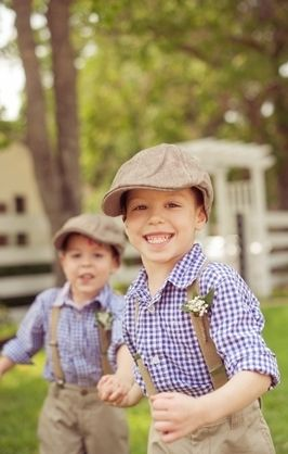 checkered gingham vintage  rustic whimsical-bright bearer country groom ring farmhouse kids