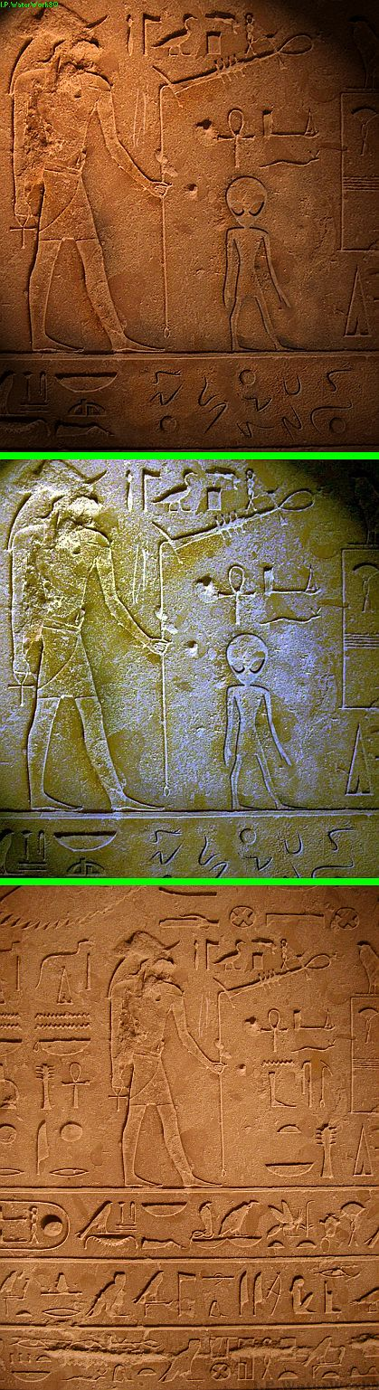"Fake - Circulating as proof of aliens shown in ancient Hieroglyphics - The bottom image is the original. Fake on top titled ""Ancient Aliens"" by gyrfalcon65 on deviantart."