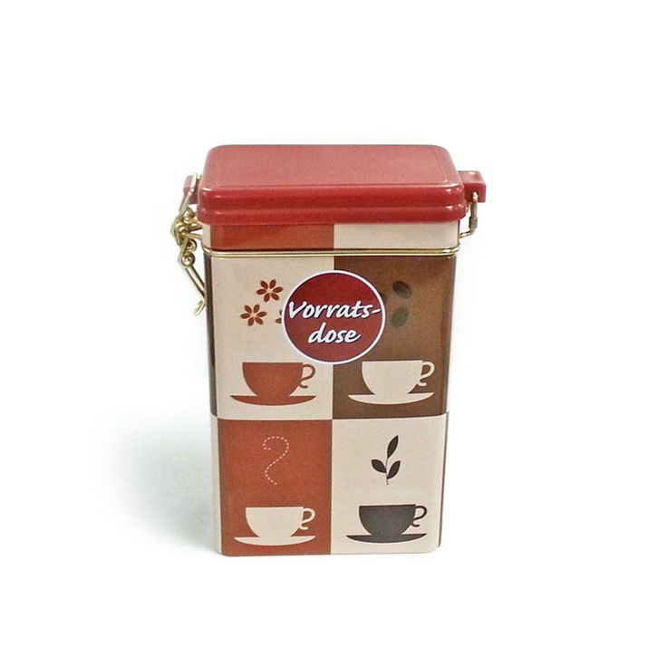 rectangular coffee tin container with airtight lid