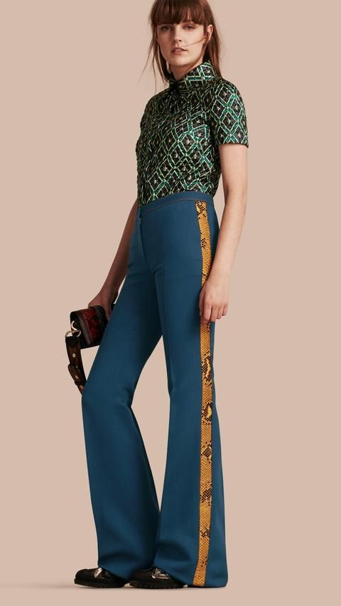 Burberry Python Print Trim Wool Silk Flared Officer Trousers