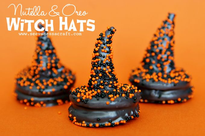 Oreo witch hat cookies  --  kids would love these.  (And some adults too!)