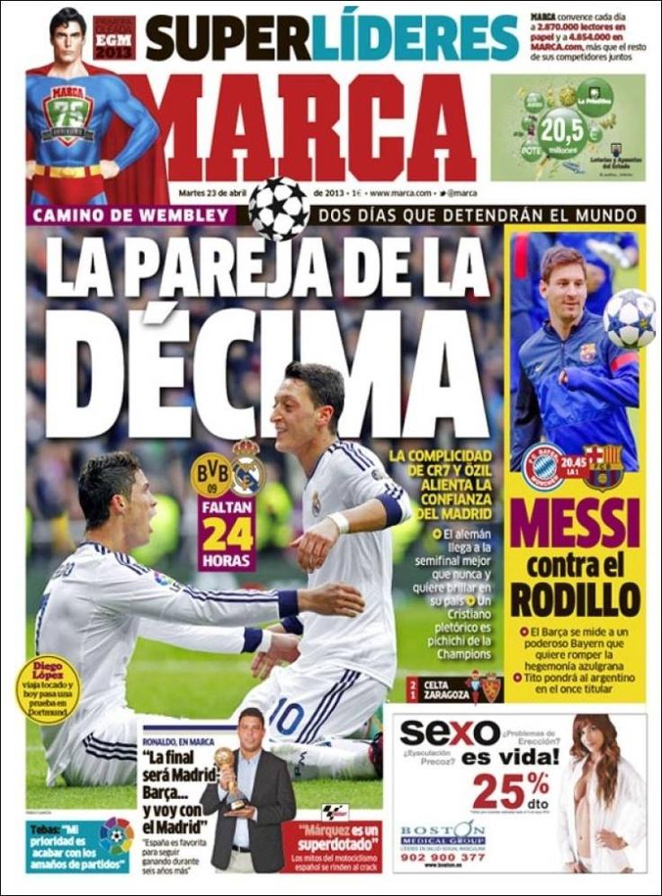 Los Titulares y Portadas de Noticias Destacadas Españolas del 23 de Abril de 2013 del Diario Deportivo Marca ¿Que le parecio esta Portada de este Diario Español?