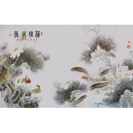 Papier peint asiatique style ancien-Les lotus, les carpes et les canards mandarins dans l'étang