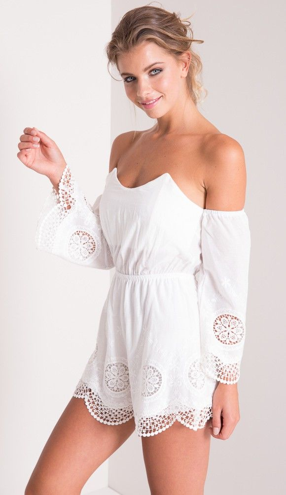 Sunkissed Embroidered Off The Shoulder Playsuit in Ivory