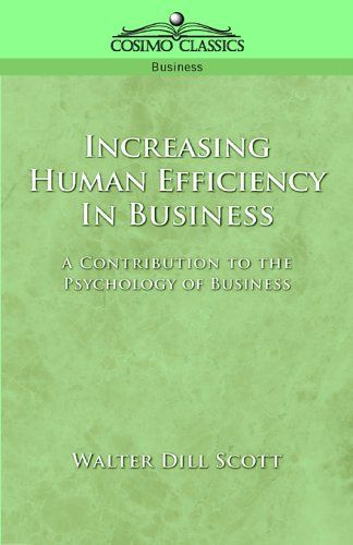 "In Increasing Human Efficiency in Business, Scott explores how to create motivation for success. He looks at factors such as imitation, competition, loyalty, concentration, wages, pleasure, ""the love of the game,"" relaxation, and habit formation. He hopes to find each worker's latent powers and hidden stores of energy to discover ""wider horizons of honorable and profitable activity."""