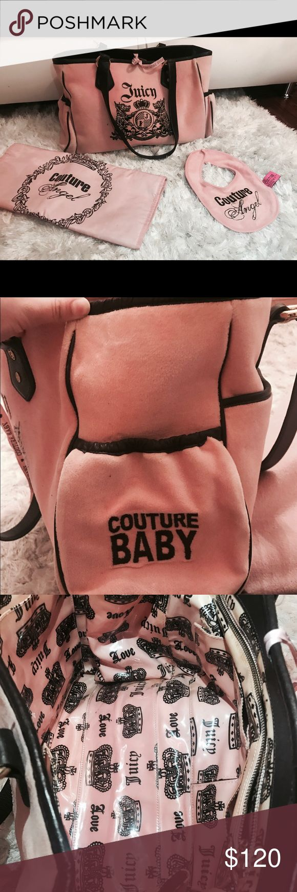 Juicy couture Diaper bag Pink juicy couture pink authentic diaper bag with bib and changing mat . No stains and damages in great condition . Just like new Juicy Couture Bags Baby Bags