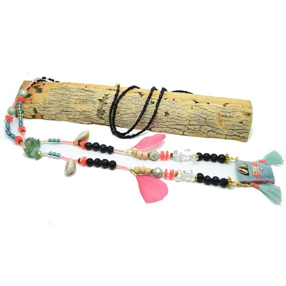 Necklace tribal talisman - ethnic chic - turquoise - pink fluo - shell - pen - pearls - leather - amazonite