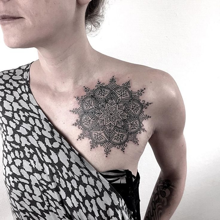 Pretty Mandala on Girls Chest Best tattoo ideas