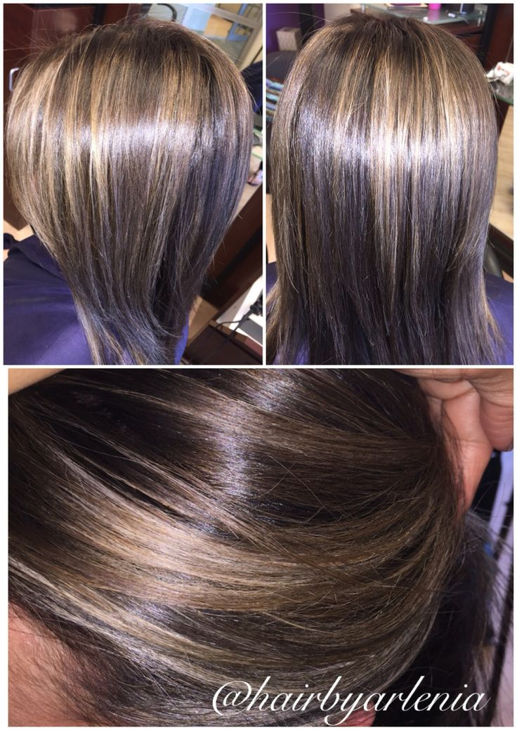 Neutral Ash Blonde Highlights With Cool Brown Base Bob