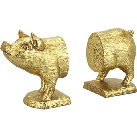Gold Pig BookendsDecor, Cb2, Gift Ideas, Pigs Bookends, Living Room, Gold Pigs, House, Apartments, Bookends Sets