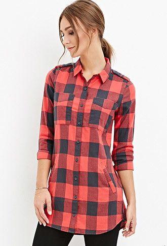 Camisa Estilo Vestido con Diseño de Cuadros | Forever 21