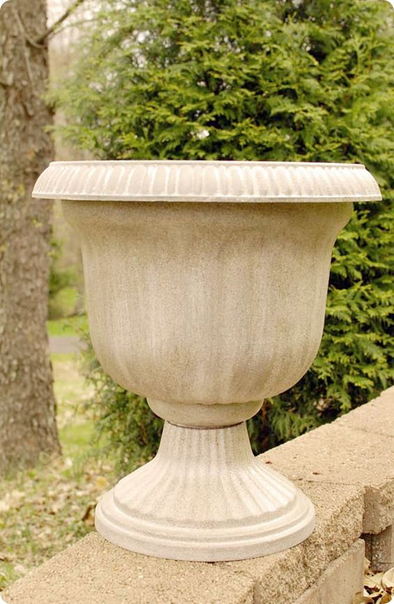 Cheap Planter To Stone Planter With Spray Paint Diy
