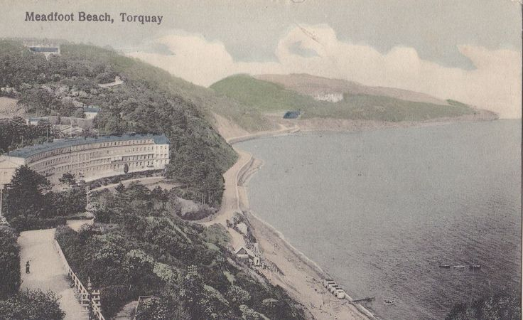Vintage Postcard c1926~ DEVON~TORQUAY~MEADFOOT BEACH~