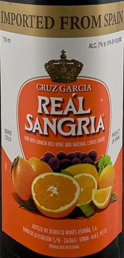 Bodegas Real Sangria - From LCBO, $8.25 per bottle.  Added sliced plums, oranges and cherries to the glass... delightful!