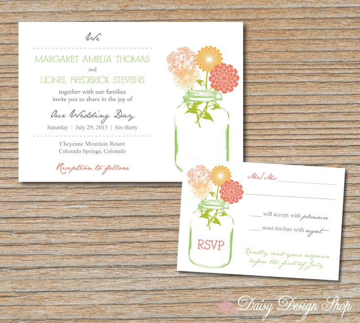 Wedding Invitation   Mason Jar With Wildflower Medley   Invitation And RSVP  Card With Envelopes
