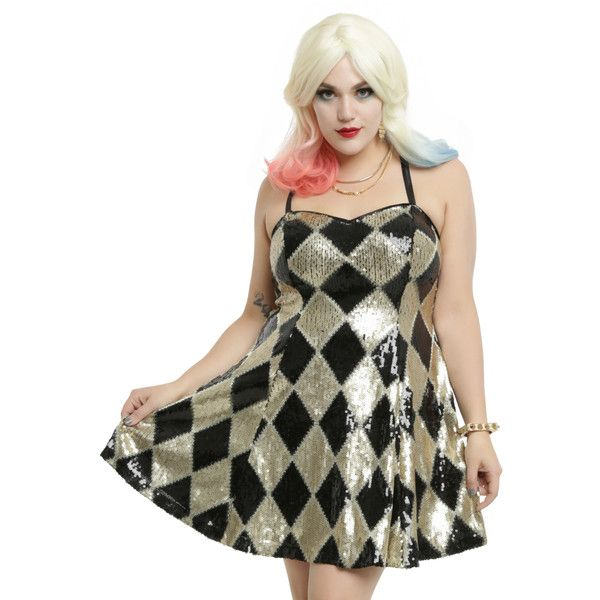 Hot Topic DC Comics Suicide Squad Harley Quinn Sequin Dress Plus Size ($59) ❤ liked on Polyvore featuring costumes, womens plus costumes, plus size doll costume, harlequin doll costume, dc comics costumes and plus size halloween costumes