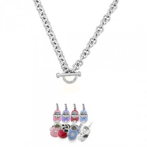 .925 Sterling Silver Rolo Chain 180 Gauge Toggle Charm Necklace