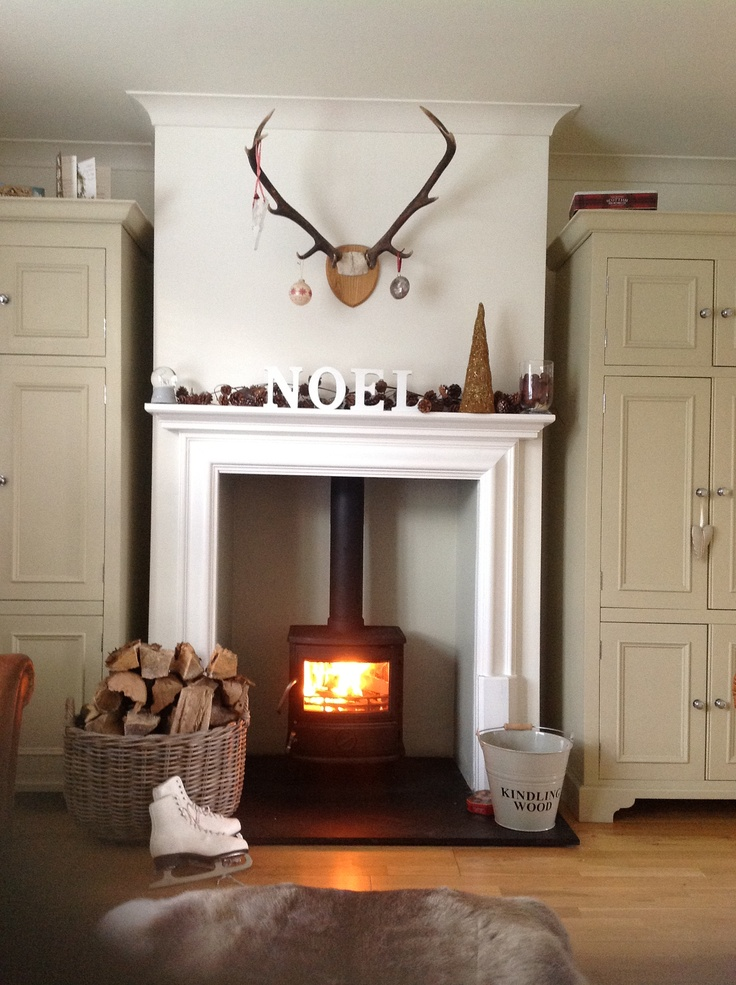This ismy dream fireplace wood burner antlers heaven for Open fireplace ideas