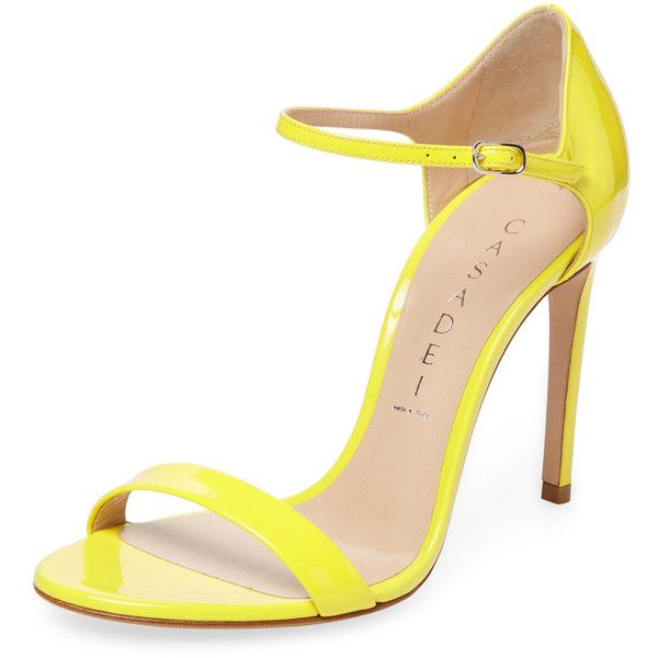 Casadei Women's Patent Leather Two-Piece Sandal - Yellow, Size 36.5 ($289) ❤ liked on Polyvore featuring shoes, sandals, yellow, yellow shoes, ankle strap heel sandals, yellow patent leather shoes, high heel shoes and casadei sandals