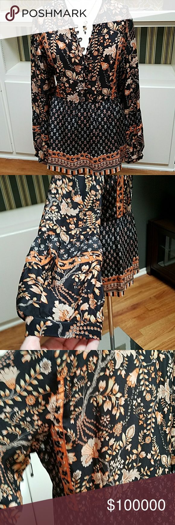 Tolani Silk Tunic sz L 100% silk, bell sleeves, button placket, short mock collar, floral border print (necklace for sale under different listing) Tolani Tops Blouses