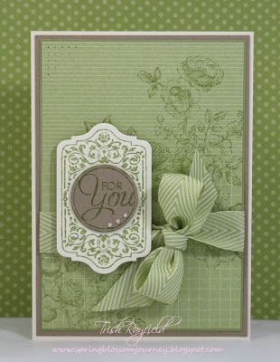 handmade card ... almost monochromatic dusy green tone on tone stamping ... subtle textures ... piercing ... Victorian look label with sentiment .. large herringbone patterned ribbon bow ... lovely card ... Stampin' Up!