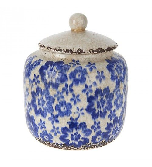 CERAMIC VASE W_BLUE FLOWERS AND COVER 19X19X23