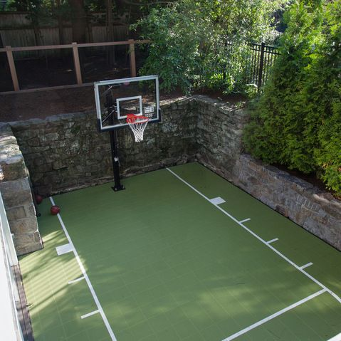 17 best ideas about backyard basketball court on pinterest for Cost of a basketball court