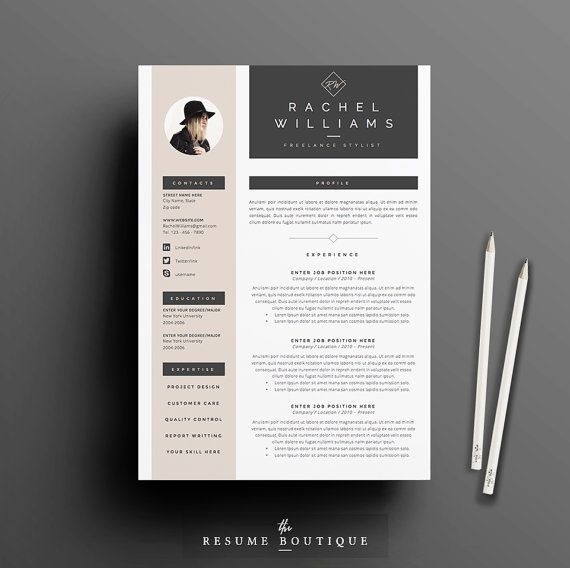 "3page Resume / CV Template + Cover Letter for MS Word | Instant Digital Download | The ""Sultry"":"