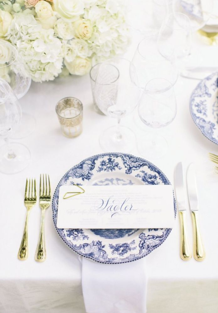 Blue and white china with gold flatware - wedding reception tabletop #soiree #taraguerard #charleston