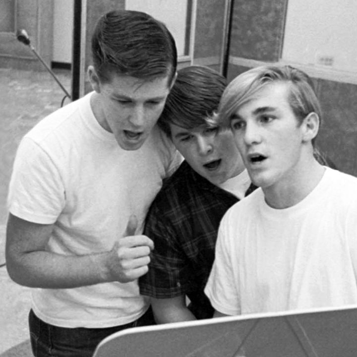 "Brian, Carl and Dennis Wilson in the studio at Capitol Records Hollywood during the ""Surfin' Safari"" album sessions in 1962"