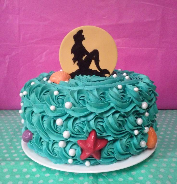 Mermaid Silhouette Birthday Rose Swirl Cake, Disney Inspired, The Little Mermaid, Princess Ariel - Rubio's Cupcakes Best Cake for birthday  #cakewithcream  #confectionery
