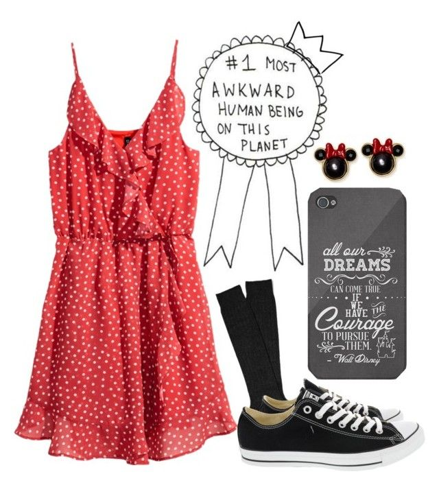 """""""A 21st Century Minnie"""" by sanestyle ❤ liked on Polyvore featuring H&M, Black, Converse, Disney and Kate Spade"""