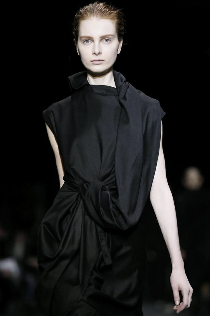 Draped, wrapped & twisted black dress; fashion construction details // Ann Demeulemeester