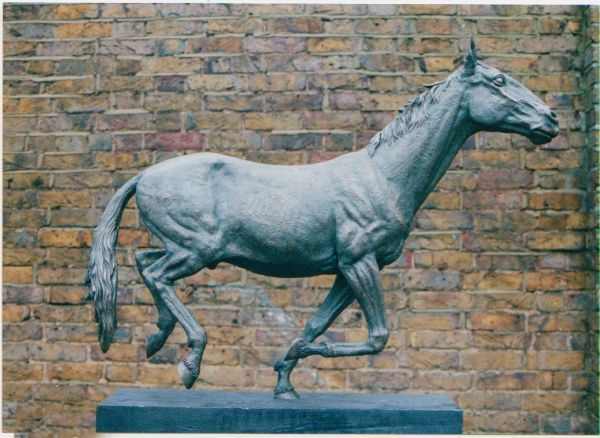 Cold cast bronze #sculpture by #sculptor Graham High titled: 'Running Horse (Small Indoor sculpture for sale)'. #GrahamHigh